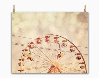 BUY 2 GET 1 FREE Nursery Art, Carnival Photography, Carnival Ride, Ferris Wheel, Golden, Bokeh, Ferris Wheel - Bokeh Wheel