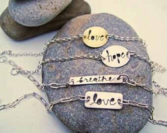 Message to You Cursive Cutout Inspirational Bracelet -Assorted