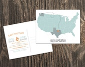 Map Save the Date - US Map with two states featured