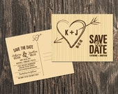 Rustic Save the Date – Heart monogram Save the Date - Outdoor wedding,  Fall wedding or Barn wedding - Save the Date Card