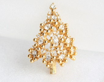 Eisenberg Christmas Tree Brooch Vintage Clear Rhinestones Pin Signed