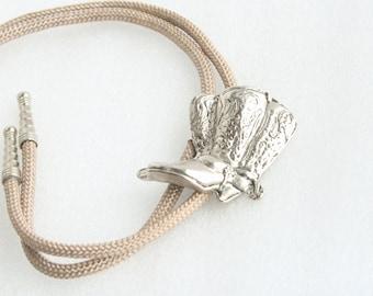 Cowboy Boots Bolo Tie Vintage Antiqued Silver tone Slide Black Leather Southwestern Bola