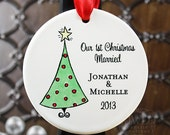 Newlywed Ornament Our First Christmas Ornament Our First Christmas Married Personalized Porcelain Ornament Christmas Tree -  Item# XTR-O
