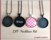 10pc..DIY Circle Pendant Tray Necklace Kit..30mm...includes chains, glass Inserts,  trays..Mix and Match color trays.
