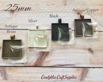 100pk... Square Pendant Trays with Glass Inserts....MIX and MATCH. Trays and glass are 1 inch.