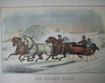 Large Antique color Lithograph Print, Winter Sleigh Race. FREE U.S. SHIPPING
