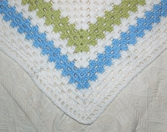 Baby Afghan, Granny Square Baby Blanket, Crocheted Baby Blanket, Lime Green Blue White, Granny Square, Baby Boy Blanket, Ready To Ship