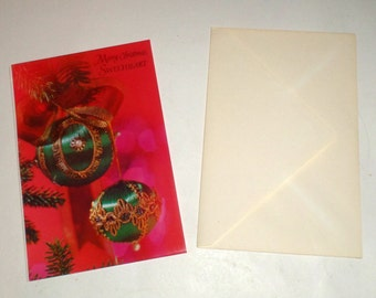 Vintage Christmas Card - Merry Christmas Sweetheart - A Parachrome Card by Paramount - Card With Envelope - Sweetheart Christmas Card