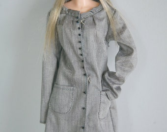 jiajiadoll-grey long shirts dress fit momoko or misaki or blythe