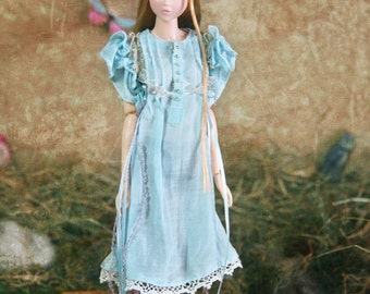 Jiajia Doll limited Rabbit Set - light blue ribbon bowknots lace dress fit momoko or misaki or blythe