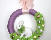 Easter Wreath, White Rabbit Wreath, Bunny Wreath, Egg Wreath, Extra Large 18 inch size - Ready to Ship