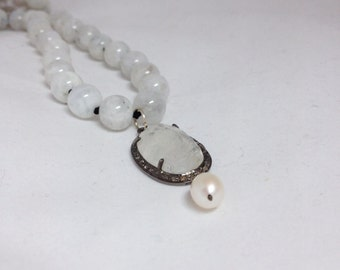 Pave Diamond Moonstone Pendant on Hand Knotted Moonstone Necklace