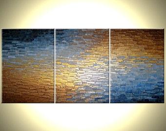 Original Abstract Painting, Original Metallic, Palette Knife Painting By Dan Lafferty Abstract Modern Textured Art - 36 x 72