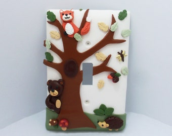 Forest Themed Light Switch or Outlet Cover - Forest Nursery - Bear, Fox, Hedgehog - Children's Woodland Themed Room Decor - Toggle or Rocker