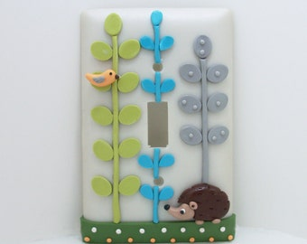 Hedgehog Light Switch Cover or Outlet Cover - Woodland Nursery Decor - Children's Hedgehog Themed Room - Toggle Cover or Rocker Cover
