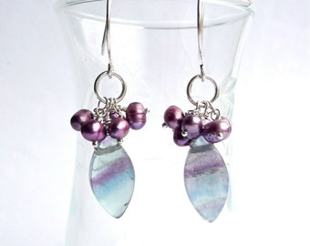 Aphrodite -- Lilac and Green Fluorite and Freshwater Pearl Dangles