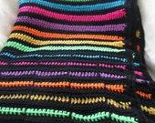 Blanket: hand crochet blanket pattern, afghan, multicolor Neon Stripe Blanket