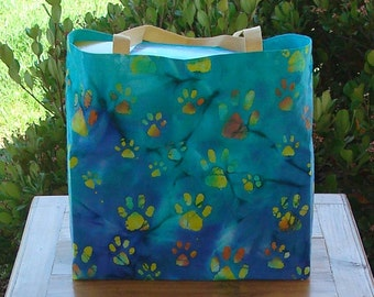 Paw Prints on Shades of Blue Batik Print Reusable Shopping Tote Bag