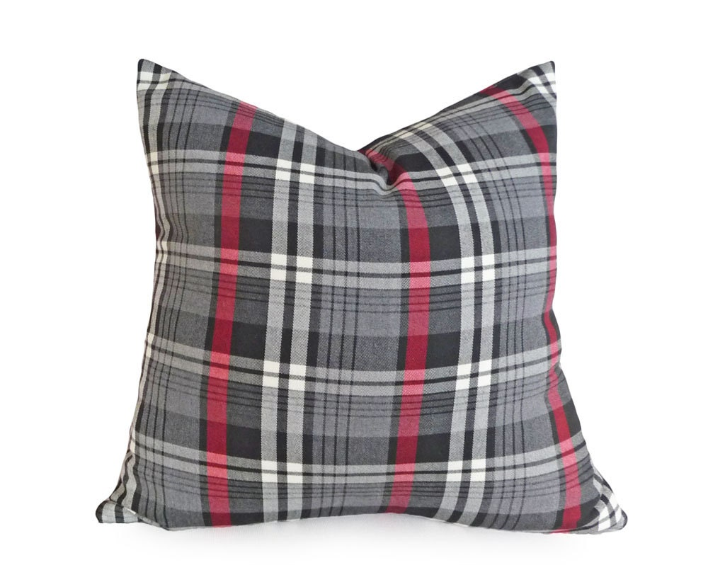 Modern Plaid Pillow : Grey Red Plaid Pillows Tartan Plaid Cushion Cover Grey Plaid