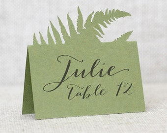 Fern Escort Cards - place card, table number, wedding, woodland, nature, natural, outdoor, forrest, rustic, summer, spring, green moss