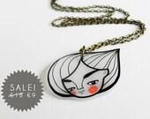 Portrait necklace, minimal white woman