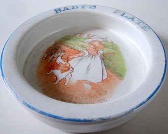 Antique Childs Baby Bunting Bowl Plate Stoneware Nursery Rhyme Collectible Dish