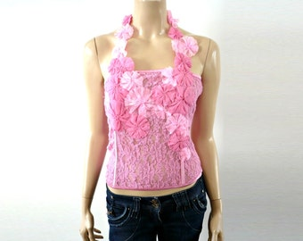 ROSIE French Vintage Pink ace Floral Apliques Bustier