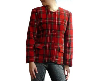 ANTONELLE French Vintage Red Plaid Jacket