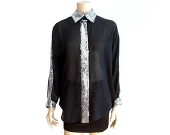 REGINE French Vintage 80s Semi Sheer Black Blouse