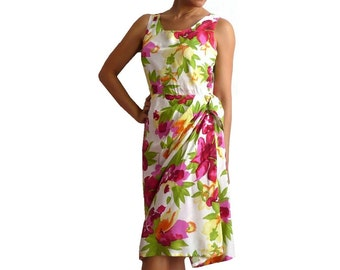 FIONELLA Italian Faux Wrap Dress in Water Color Flowers Prints