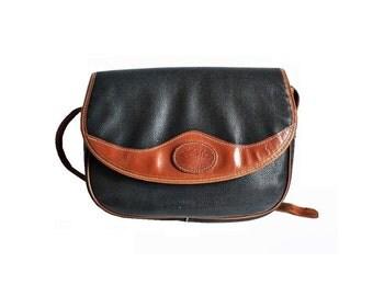 ADELLE  French Vintage Black Brown Satchel / Shoulder bag