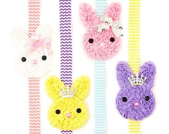 Bunny Headband, Chevron Headband, Tiara, Princess Bunny Headband for Girls, Children Holiday, Spring Infant Headband,  Baby Girls, Toddlers