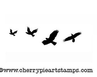 Flying CRoWs, RaVeNs, eagles, hawks, birds - CLiNG rubber STAMP by Cherry Pie Art Stamps