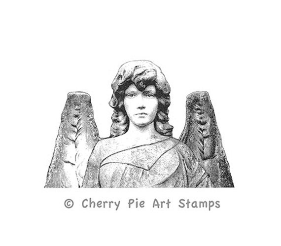 ANGEL Statue- tombstone graveyard-  CLING STAMP by Cherry Pie Art Stamps