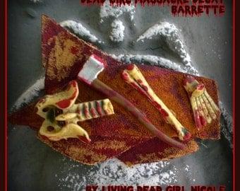 Hair Barrette: Dead Girl Massacre Decay - The Axe Man Was Here - Horror Movie Halloween Bloody Skeleton Axe Handmade Accessory