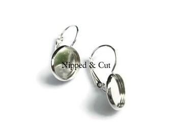 30 pcs (15 pr) 12mm Round Silver Plate Earring Blanks Bezels Trays Settings