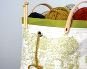 Knitting tote, Toile knitting bag, Chartrusse ( LAST ONE)