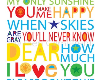 Kids Wall Art- You are my sunshine  print