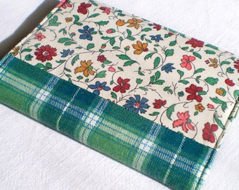 Fabric Journal - Italian Flowers - Handmade Fabric Cover A6 Notebook, Diary - Green, Red, Blue, Yellow Floral