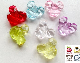 Bead, beads, mickey, minnie, mouse, clear bead, plastic, craft, crafting, pink, blue, red, yellow, green, supplies, assorted, crystal