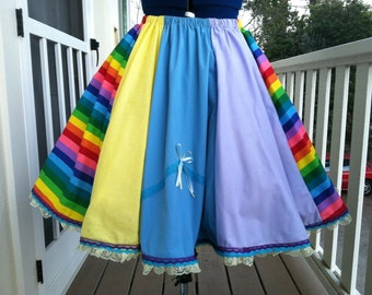 Vintage inspired Full circle Rainbow, blue, yellow,purple Circus lolita skirt with Lots of Lace