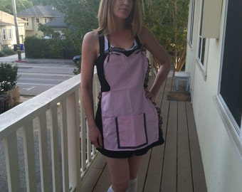 Pink and Black lacy Apron with bows