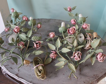 Shabby Chic Pink Rose Sconce Pair Country Cottage Prairie