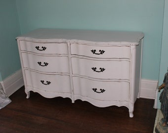 Dresser Shabby Chic French white distressed cottage prairie bedroom painted vintage