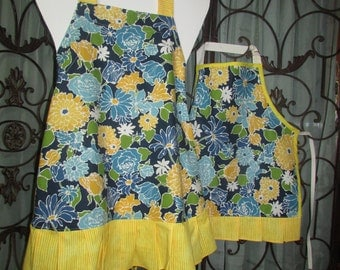 Apron SET / Mother Daughter / Child / Full Apron / Blue Yellow Floral