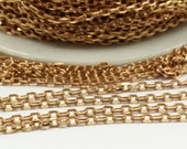 10 M Faceted Red Brass Soldered Chain (3x1.60x0.55 mm) W5-12 ( Z042 )