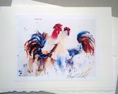 """Blank Note Card Reproduction of Original Art Work """"Chicken Doodle Soup"""""""