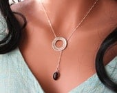 Sterling Silver necklace Garnet Hammered Lariat Sterling silver Modern Disc Washer