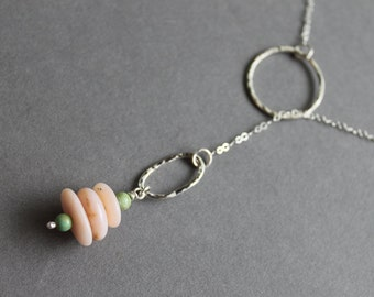 Sterling silver necklace, Lariat necklace, Pink Opal Turquoise beads, Sterling silver, Handmade