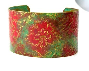 Bohemian Bracelet, Etched, OOAK, Red Floral, Rustic
